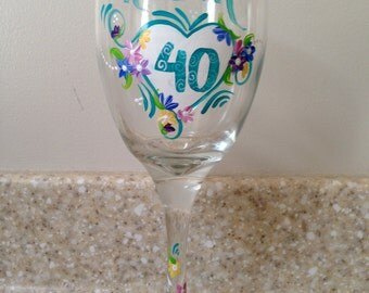 Celebrate the big 30, 40 ,50, 60, or any age! Big birthday gift. Special birthday gift. Personalized birthday wine glass with name and age!