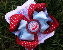 DOROTHY BOW - Wizard of Oz Bow - Dorothy Costume - Wizard of Oz Birthday - Wizard of Oz Party - Girls Hair Bow