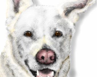 Custom Dog Portrait, custom portrait, dog art, wall art, artwork, pet memorial, dog memorial, art print, dog lover, dog, pet, animal, gift