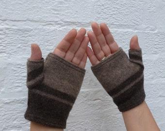 Wool gloves brown stripe fingerless mittens eco womens brown mitts handmade winter gloves handwarmers ladies urban gloves medium size.