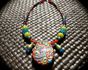 Beaded Necklace with Polymer Clay and Hand-painted Pendant