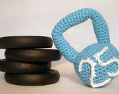 Crochet Plush Kettlebell / Crossfit Baby Boy Rattle / Infant Toy