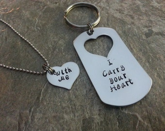 I Carry Your Heart...With Me Hand Stamped Couples Keychain/Necklace Set
