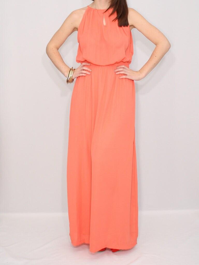 Similiar Long Coral Maxi Summer Dresses Keywords