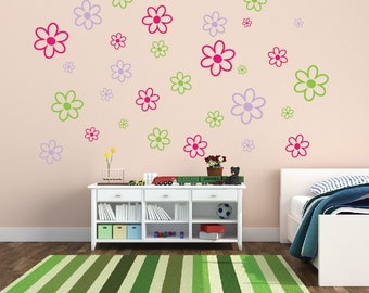 Set of 30 Flower Wall Decals - Childrens Room Decor Kids Room Teen Room Vinyl Wall Decal Flower Decor