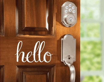 Hello Door Decal Vinyl Wall Quote Hello Wall Or Door Decal Home Decor Wall Decal Vinyl Lettering