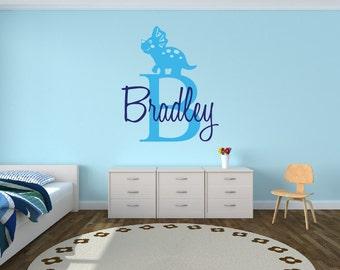 Personalized Dinosaur Name Decal Nursery Decor - Kids Room Teen Name Vinyl Wall Decal Dinosaur Decal