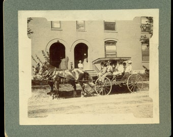 Antique Cabinet Card Type Photo - Horses and Buggy with Passengers - Dated 1900