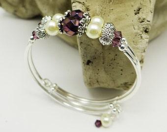 Stacking Bangle Bracelet, Purple Bracelet Double Strand Stacking Bracelet Bangle Bracelet Wedding Bracelet Bridal Jewelry Bridesmaid Jewelry
