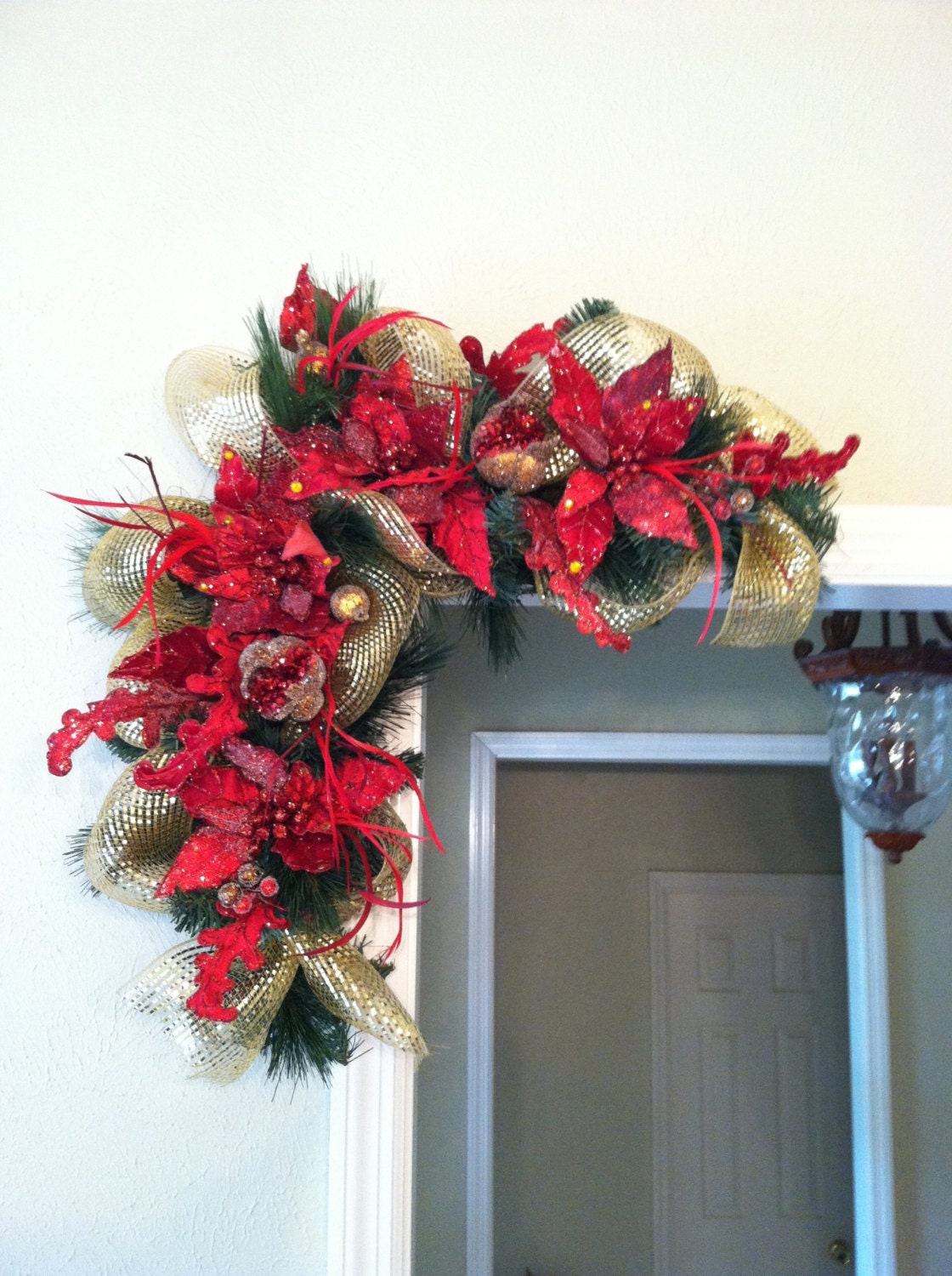 TWO Red Christmas Swags for Door Frames Mirrors Mantels and
