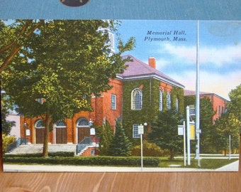 Vintage Postcard, Memorial Hall, Plymouth, Massachusetts, 1940s Linen Paper Ephemera