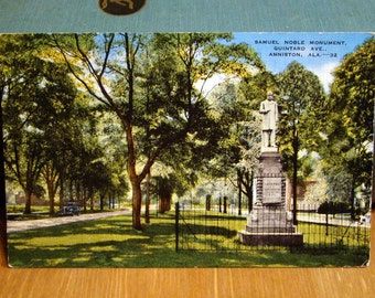 Vintage Postcard, Samuel Noble Monument, Anniston, Alabama, 1920s Paper Ephemera