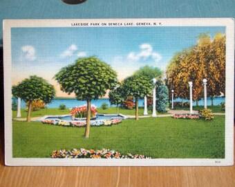 Vintage Postcard, Lakeside Park, Seneca Lake, Geneva, New York, 1940s Linen Paper Ephemera