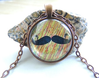 Mustache Hipster Necklace, Hipster Jewelry, Mustache Jewelry, Mustache Charm Necklace. A370