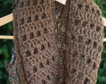 10. Crochet Infinity Scarf Cowl Neck:  Coffee