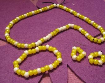 YELLOW and WHITE CHILDREN Jewelry Set