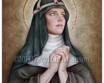 St. Bridget of Sweden Art Print, Catholic Patron Saint #4065