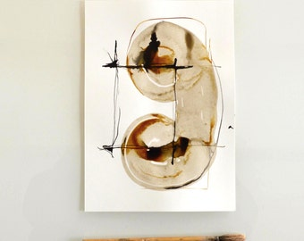 Original abstract art ink drawing -Black and white,modern, minimal,ink dark, movement, art ink, brown,sepia, ink wash