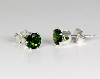 Natural Russian Chrome Diopside Earrings Sterling Silver Stud Post
