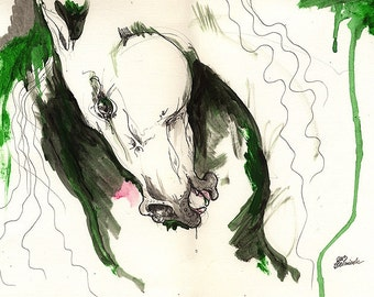 Wild horse ink and acrylic painting on paper