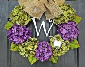 "24"" Year Round Green and Purple Hydrangea Wreath, Summer, Wreath, Fall Wreath, Spring Wreath, With Initial Monogram"