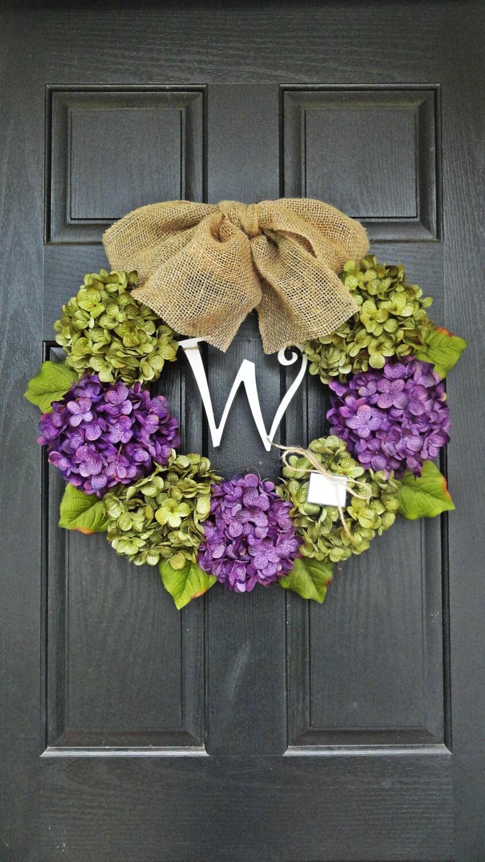 24 Year Round Green And Purple Hydrangea Wreath Summer