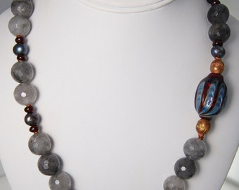 Dark Grey Freshwater Pearls, Cloudy Crystal, Garnet, African Brass, Glass