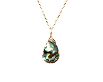 Abalone necklace - shell necklace - teardrop - everyday - a wire wrapped abalone shell on a 14k gold vermeil or sterling silver chain AB061