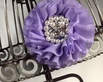 Lavender ruffle chiffon flower hair clip, girls flower hair accessory, light purple hair clip, hair flower with pearl rhinestone center.