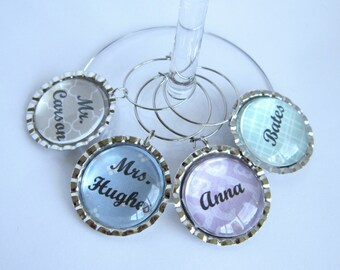 Downton Abbey Wine Glass Charm Characters (Mr. Carson, Mrs. Hughes, Bates, Anna)