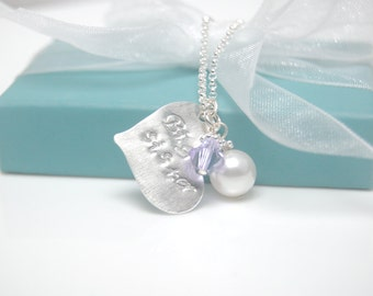 Big sister heart necklace, Hand Stamped Necklace, Personalized Heart Disc Swarovski Crystal Bead and pearl