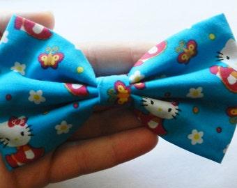 Hello Kitty Blue Fabric Hair Bow Clip Barrette