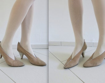 WALTER STEIGER elegant vtg suede beige and silver leather pumps shoes EU 38