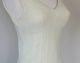 Vintage 60's cream colored knit sweater tank top with built in bullet bra. Medium.