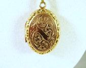 SALE  Art Nouveau 10K Gold Locket and Chain  WAS 475 Now 395