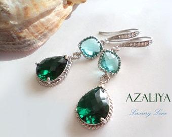 Emerald and Aquamarine Chandeliers. Azaliya Luxury Line. Bridal Earrings. Mother in Law Gift. Bridesmaids Gift. Teal, Aquamarine, Sapphire.