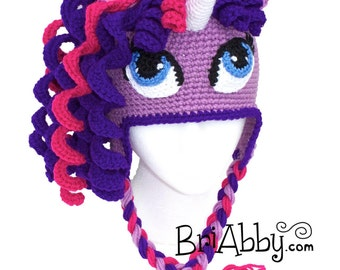 Free Crochet Pattern For My Little Pony Eyes : Items similar to Crochet Unicorn / Pony Hat (12-18 months ...