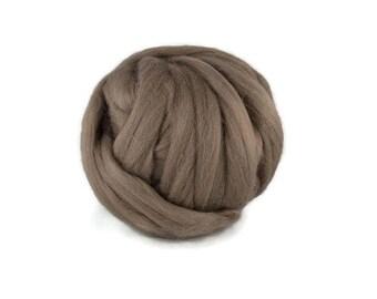Superfine Merino wool roving 19 microns, 4 oz, Color: Ash