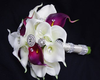 Wedding Brooch Bouquet Off White and Purple Natural Touch Calla Lilies Silk Bridal Jewel Flowers