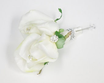 Double Silk Rose Wedding Boutonniere or Corsage - Brooch Wedding - Natural Touch Rose Bud in Your COLOR