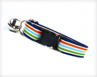 "Cat Collar - ""Rock the Casbah"" - Sporty Stripes in Green, Blue & Orange on Blue"
