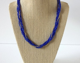 Blue necklace, blue and gold necklace, blue monaco, sparkly blue necklace, beaded necklace, braided necklace, seed bead necklace, blue, gold