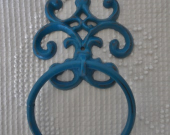 Cast Iron towel ring in teal / shabby chic / victorian / distressed teal / ready to ship / bathroom fixture