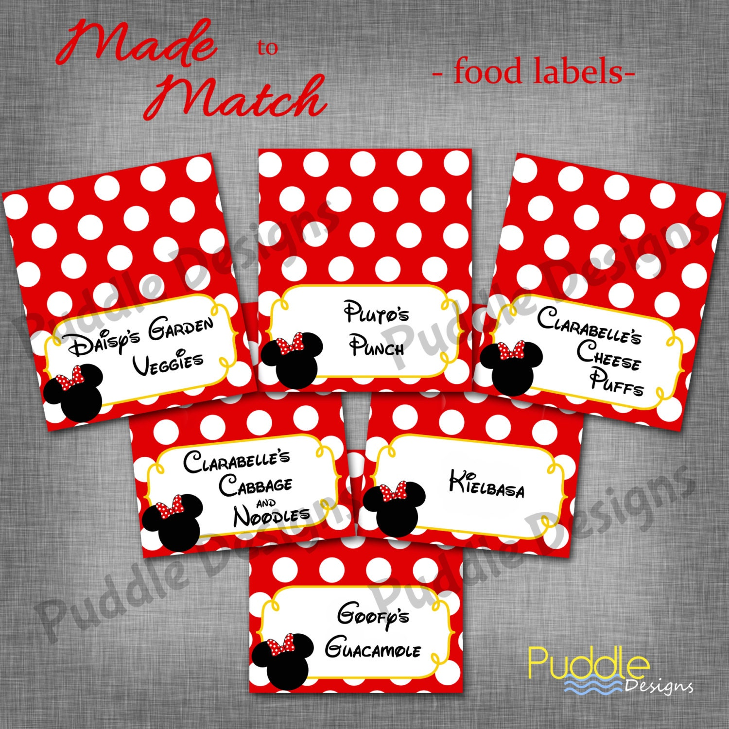 Mickey Or Minnie Mouse Custom Food Labels