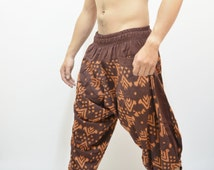 Brown Graphic Art Printed Samurai Pants, Trouser, Baggy pants, Yoga 100% Cotton(Unisex) One Size Fit All.