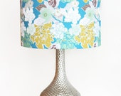 Vintage Floral Lamp Shade - Pendant Light - Swag Lamp - Choose Your Size -Turquoise, Yellow, Mint, White