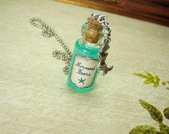 Mermaid Tears 2ml Glass Bottle Necklace Charm - Mermaid's Tears Cork Vial Pendant - Ocean Sea Kawaii