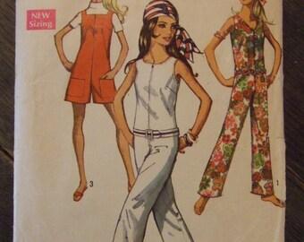 Simplicity 8198 Miss Size 10 CUT (all present) Jumpsuit 1969