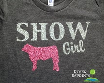 Youth SHOW GIRL, youth girls fitted or regular fit sparkly tee shirt