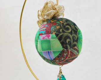 Green Print Fabric Ornament with Beads